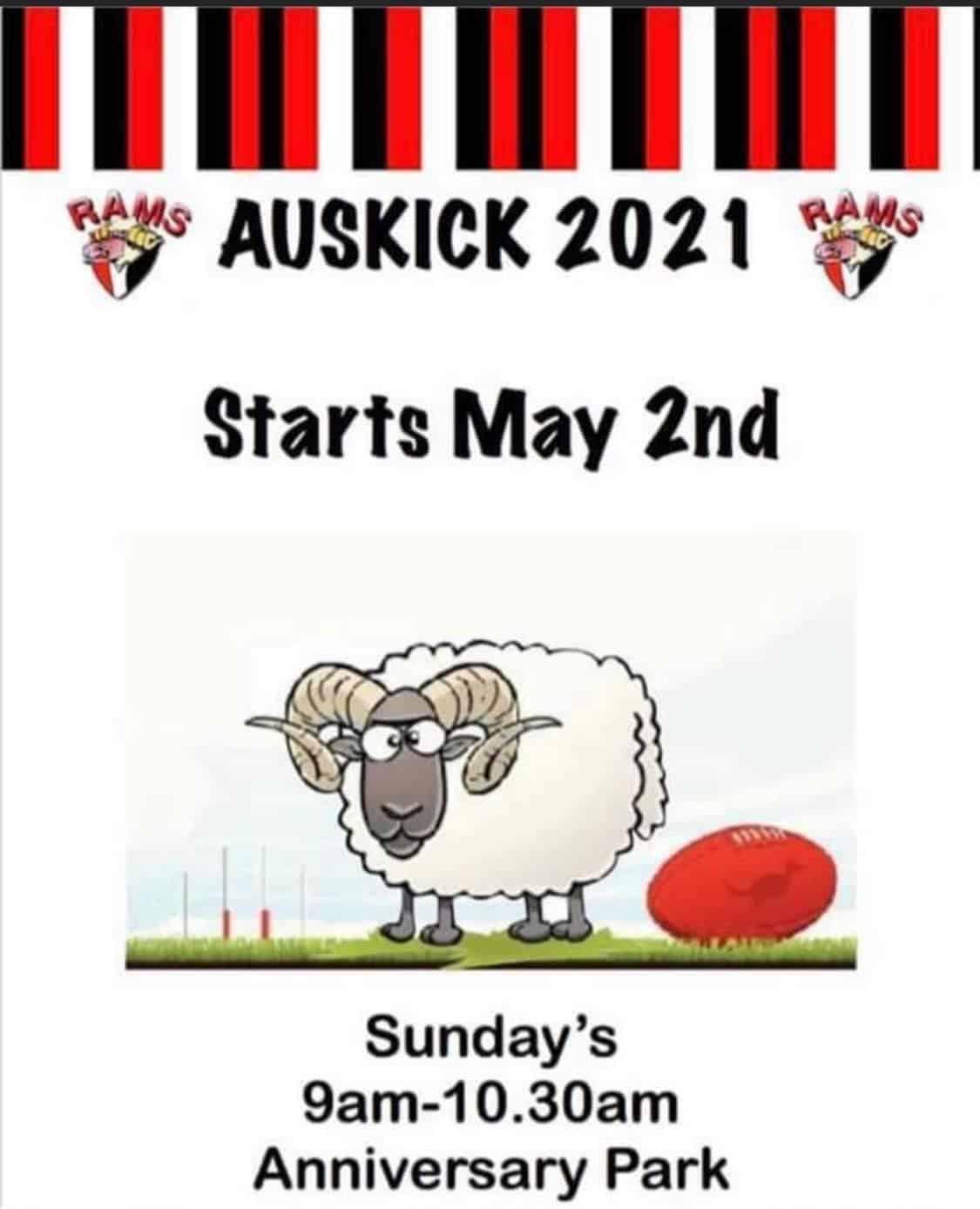 Auskick 2021 starts @ Anniversary Park