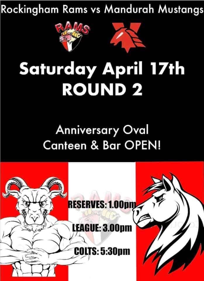 Round 2 -  Rockingham Rams vs Mandurah Mustangs @ Anniversary Park